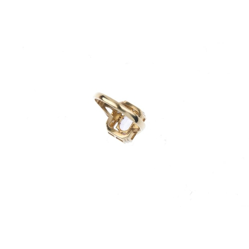 651 - An 18ct gold diamond ring. The pave-set diamond rectangular-shape panel, with tapered band. Total di...