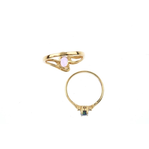 658 - Two gem-set dress rings. To include an 18ct gold pink sapphire single-stone ring, together with an o...