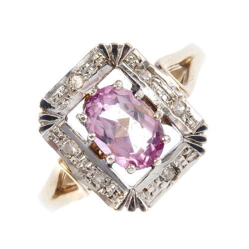 659 - A 9ct gold coated topaz and diamond dress ring. The oval-shape coated pink topaz, with a single-cut ...