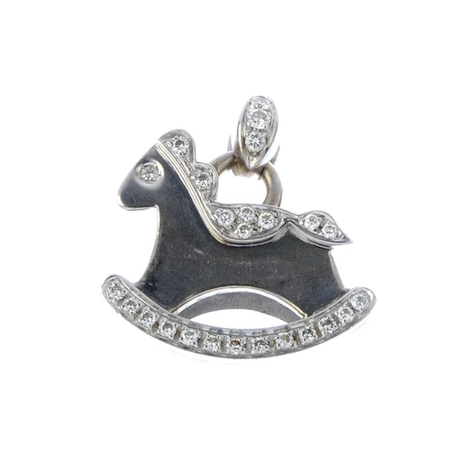 666 - A diamond novelty pendant. Designed as a rocking horse, with brilliant-cut diamond highlights, suspe...
