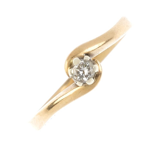 672 - Three 9ct gold diamond single-stone rings. To include a diamond single-stone ring with asymmetric sh...