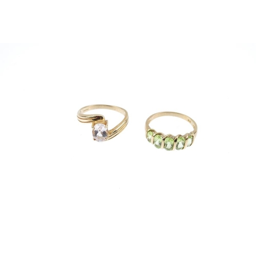 677 - Four 9ct gold gem-set rings. To include a blue-green tourmaline floral cluster ring, a peridot five-...