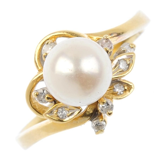 679 - A cultured pearl and diamond dress ring. The cultured pearl, with brilliant-cut diamond foliate surr...