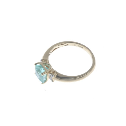 683 - An 18ct gold emerald single-stone ring. The square-shape emerald, with baguette-cut diamond accent s...