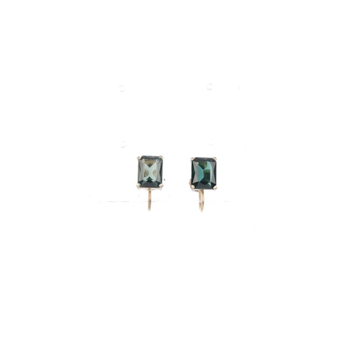 686 - Five pairs of gem-set earrings. To include a pair of 9ct gold rose quartz ear clips, a pair of perid...
