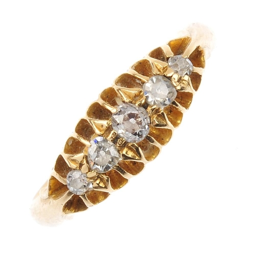 691 - An early 20th century 18ct gold diamond five-stone ring. The graduated old-cut diamond line, with ta...
