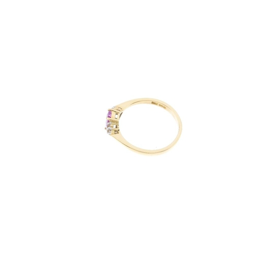 7 - An 18ct gold sapphire and diamond ring. The rectangular-shape pink sapphire, with single-cut diamond...