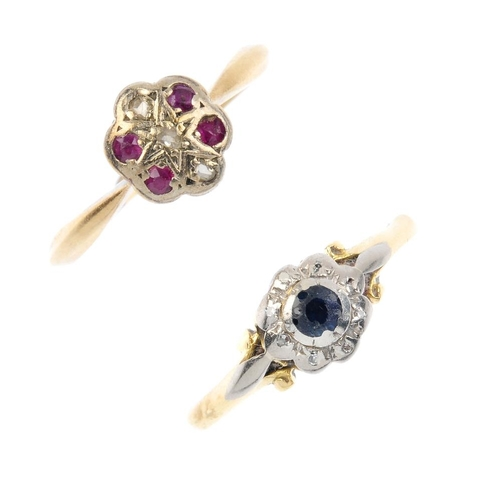 720 - Two early 20th century gold diamond and gem-set cluster rings. Each of floral design, the first desi...