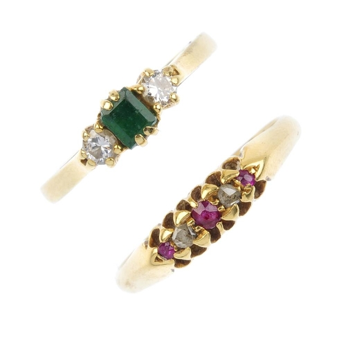 721 - Two 18ct gold diamond and gem-set dress rings. To include an emerald and diamond three-stone ring, t...