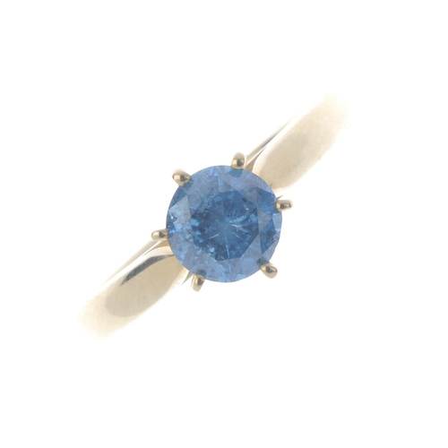 727 - A 14ct gold colour treated diamond single-stone ring. The colour treated 'blue' brilliant-cut diamon...