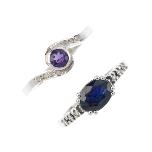 73 - Two diamond and gem-set rings. To include an 18ct gold circular-shape amethyst single-stone ring wit...