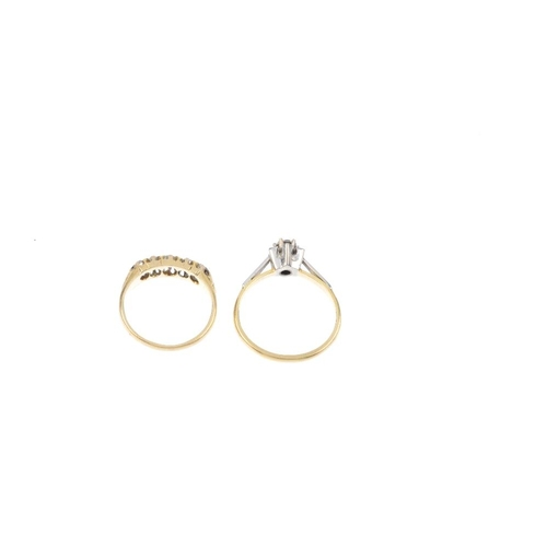 731 - Two 18ct gold diamond rings. To include an early 20th century 18ct gold old-cut diamond five-stone r...