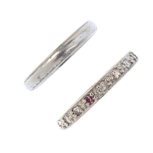 733 - Two band rings. To include an 18ct gold single-cut diamond full-circle eternity ring with scrolling ...