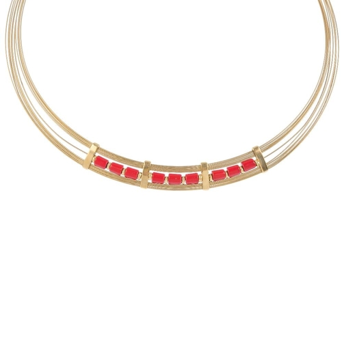 735 - Two necklaces. To include a 9ct gold necklace, designed as two bi-colour textured undulating lines, ...