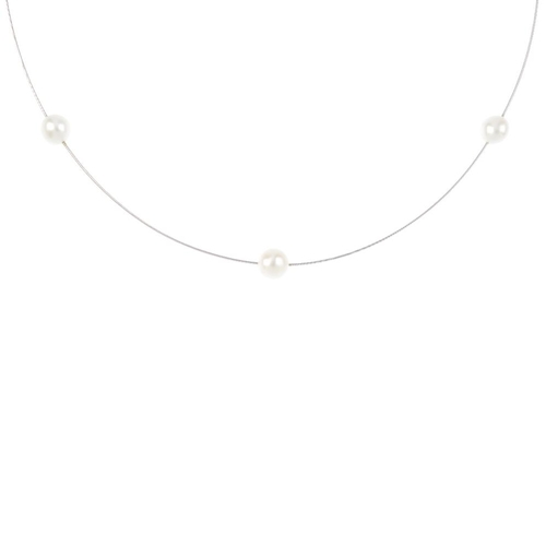 74 - A cultured pearl necklace. Comprised of three cultured pearls, measuring approximately 6.2mms, inter...
