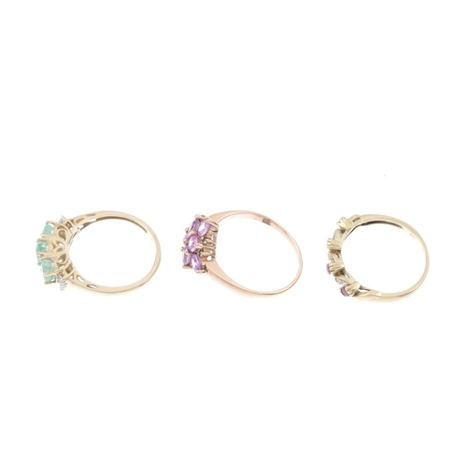 743 - Three 9ct gold diamond and gem-set rings. To include a ruby and diamond ring, an emerald and diamond...