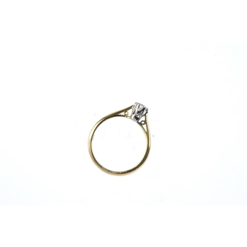 745 - An 18ct gold diamond ring. The brilliant-cut diamond, with tapered shoulders and plain band. Estimat...