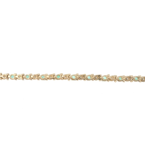747 - A 9ct gold emerald and diamond bracelet. The alternating circular-shape emerald and diamond accent a...