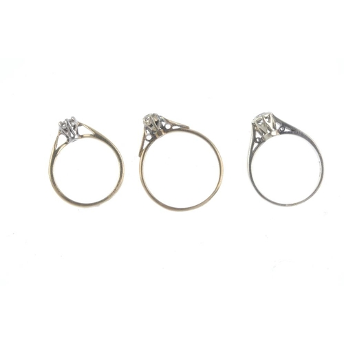 75 - Three 9ct gold diamond single-stone rings. Each designed as a brilliant-cut diamond, one with single...