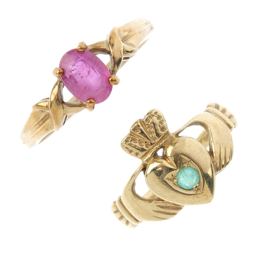 755 - Four gem-set rings. To include a 9ct gold ruby single-stone ring, a 9ct gold opal ring, a 9ct gold e...