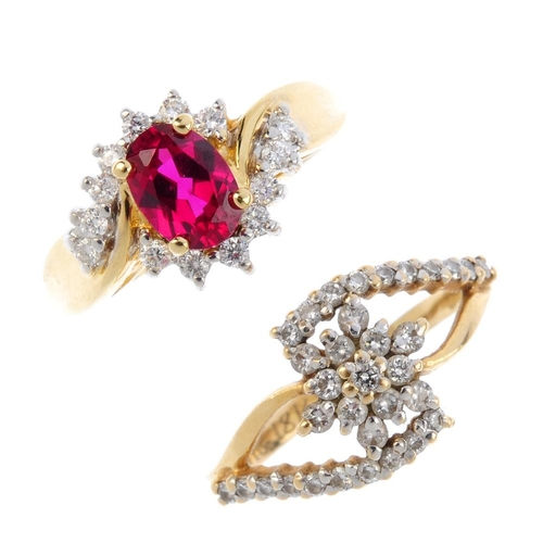 761 - Three diamond and gem-set rings. To include an 18ct gold synthetic ruby and diamond cluster ring, an...