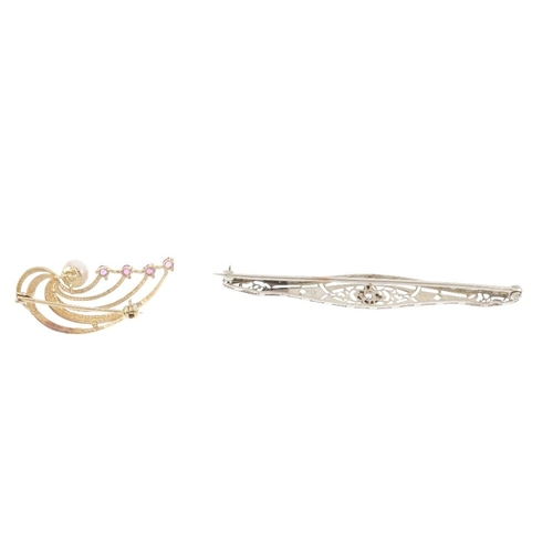 778 - Two diamond and gem-set brooches. To include a 9ct gold cultured pearl and ruby abstract brooch, tog...
