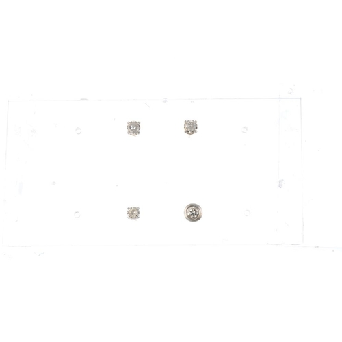 779 - A selection of diamond stud earrings. To include a pair of brilliant-cut diamond stud earrings, toge...