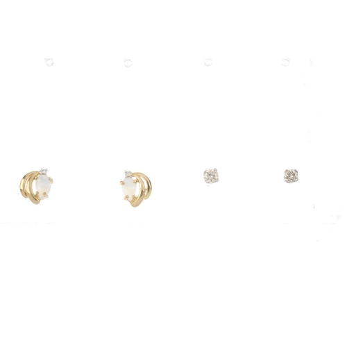 782 - Ten pairs of gem-set earrings. To include a pair of 9ct gold circular-shape emerald stud earrings, a...