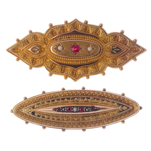 784 - Two late Victorian and Edwardian 9ct gold brooches. Each designed as an alternating ruby and split p...