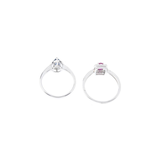 79 - Two gem-set and diamond cluster rings. To include an oval-shape ruby and single-cut diamond cluster ...
