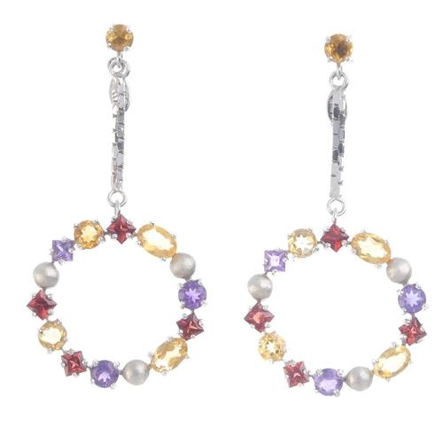 793 - A pair of gem-set earrings. Each designed as an openwork circle of vari-cut citrine, garnet and amet...