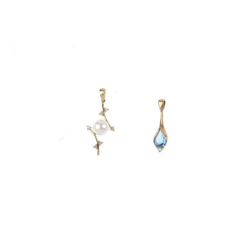 795 - Three gem-set pendants. To include a cultured pearl and graduated blue topaz pendant with integral b...