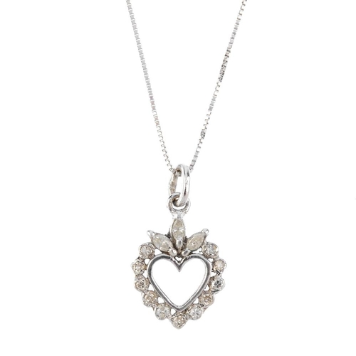 813 - A diamond heart pendant. Designed as a marquise-shape and single-cut diamond heart, suspended from a...