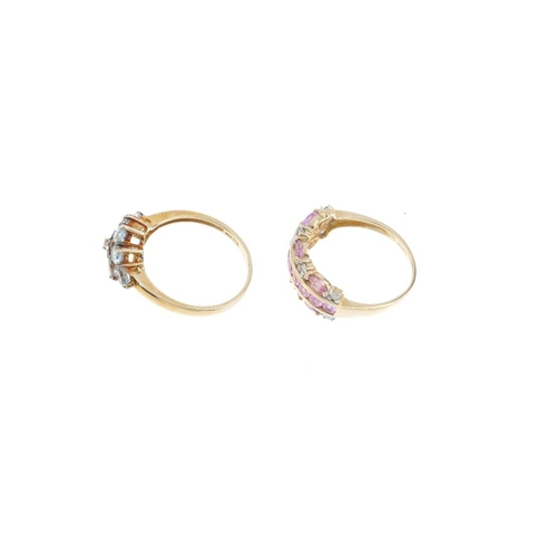 815 - Four gold gem-set rings. To include an 18ct gold pinkish-orange sapphire four-stone ring, a 9ct gold...