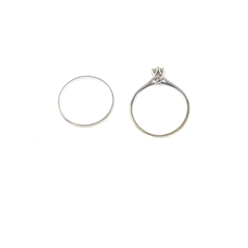 819 - Two 9ct gold rings. To include a brilliant-cut diamond single-stone ring, with similarly-cut diamond...