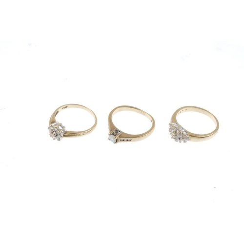 822 - Three 9ct gold diamond dress rings. To include two diamond cluster rings, together with a diamond si...