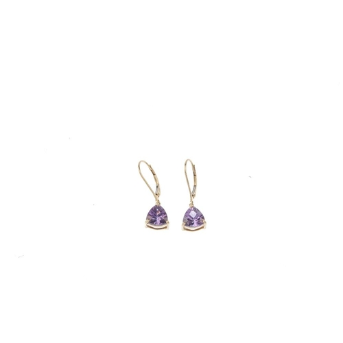 823 - Three pair of 9ct gold gem-set earrings. To include a pair of circular-shape colourless gem stud ear...