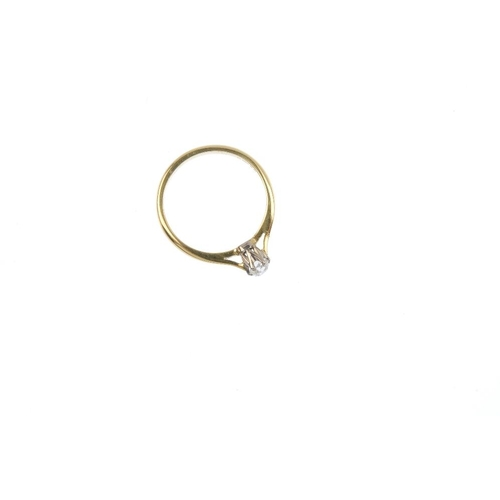 829 - An 18ct gold diamond single-stone ring. The old-cut diamond, with tapered shoulders. Estimated diamo...