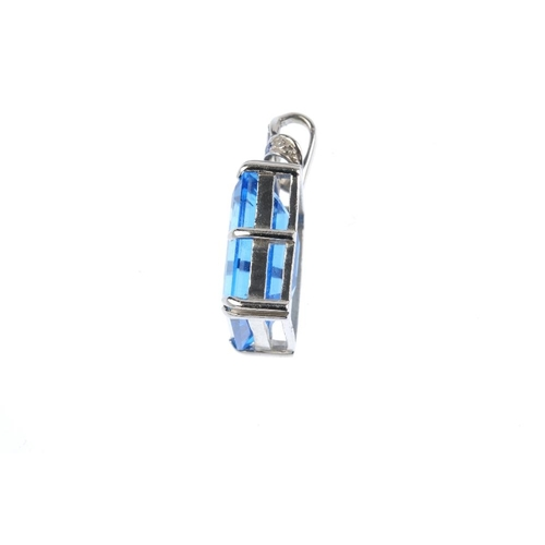 836 - A 9ct gold topaz and sapphire pendant and a pair of emerald earrings. The pendant designed as a rect...