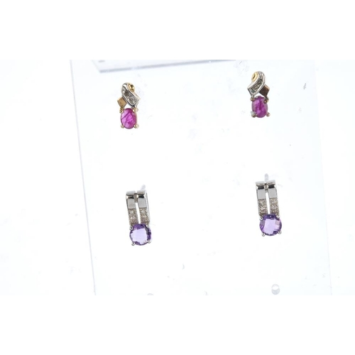 838 - Six pairs of gem-set earrings. To include a pair of sapphire drop earrings, a pair of ruby collet ea...