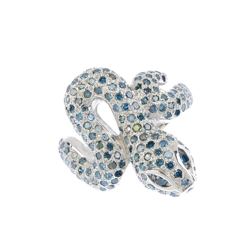 847 - A colour treated diamond dress ring. Designed as a pave-set colour treated 'blue' diamond coiled sna...