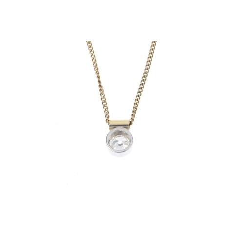 85 - A diamond pendant. Of bi-colour design, the circular-cut diamond partial collet, suspended from a po...