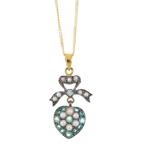 850 - A diamond and gem-set heart pendant. Designed a cultured pearl and circular-shape emerald cluster, w...