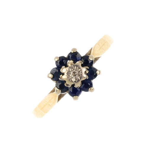 855 - Three gem-set rings. To include two diamond and sapphire cluster rings, together with an openwork di...
