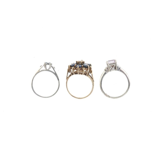 861 - Three 9ct gold diamond and gem-set rings. To  include a sapphire and diamond floral cluster ring, a ...