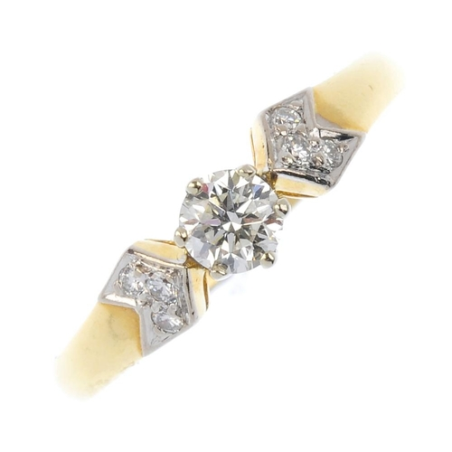 862 - An 18ct gold diamond single-stone ring. Of bi-colour design, the brilliant-cut diamond with similarl...