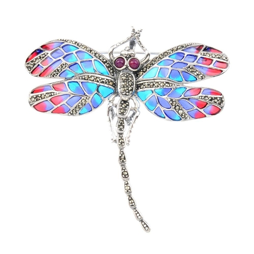 865 - A ruby, marcasite and plique-a-jour enamel dragonfly brooch. The marcasite body and circular ruby ca...