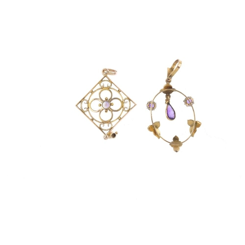 873 - Two 9ct gold Edwardian gem-set pendants. To include an openwork panel with circular-shape amethyst h...