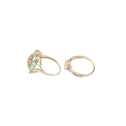 874 - Five 9ct gold gem-set rings. To include a hexagonal rose quartz single-stone ring, a topaz and pink-...