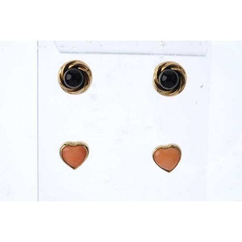 875 - A selection of gem-set jewellery. To include a pair of 9ct gold coral earrings, a pair of 9ct gold o...